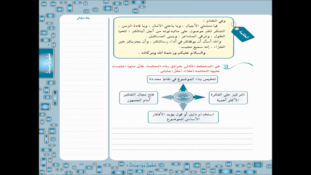 حل استراتيجية الكتابة الوحدة الاولى لغتي الخالدة الصف الثالث متوسط الفصل الدراسي الاول Youtube