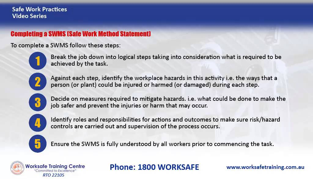 Completing a SWMS (Safe Work Method Statement) - YouTube - method of statement