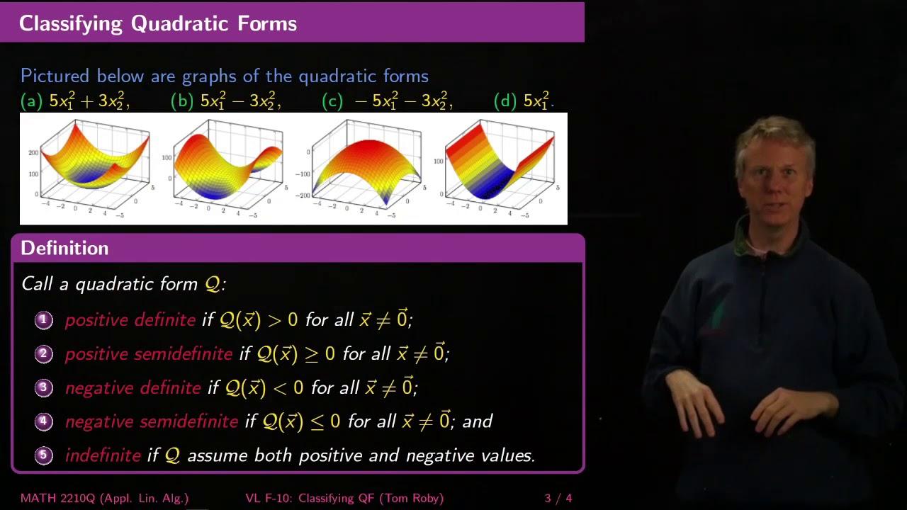 Classifying Quadratic Forms - Linear Algebra - F10 - YouTube