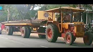 Tractor Pulling Lengthiest 8 Wheel Semi Trailer - Mahindra Gujarat HINDUSTAN 60 -India