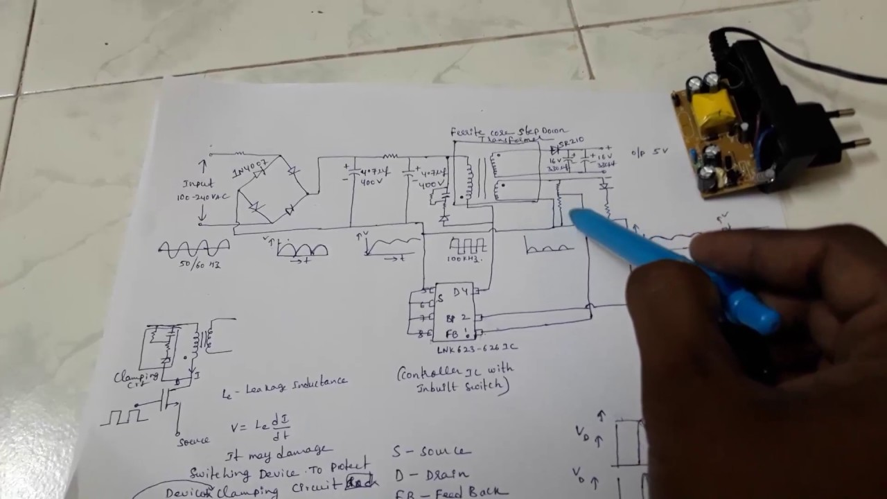 Mobile Charger Circuit Diagram Without Transformer | Cell Phone Charger Smps Switched Mode Power Supply Flyback Circuit