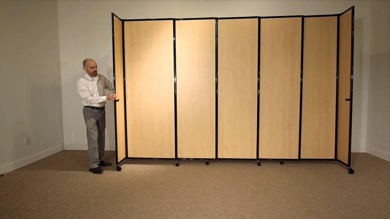 Versare straightwall sliding room divider in wood grain for Sliding panel room divider