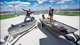 EPIC Jon Boat VS Jon Boat Fishing TOURNAMENT!!! (Homemade Boats)