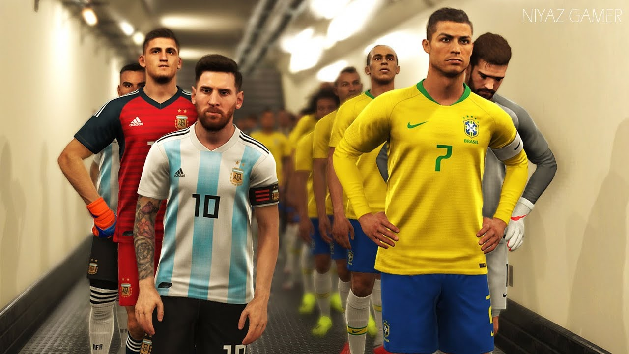 What If Cristiano Ronaldo Played For Brazil Brazil Vs Argentina Pes 2019 Gameplay Pc Youtube