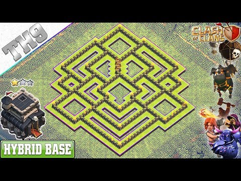 NEW BEST TH9 Base 2019 With REPLAY | Anti 3/2 Star TH9 Hybrid Base With Copy Link - Clash Of Clans