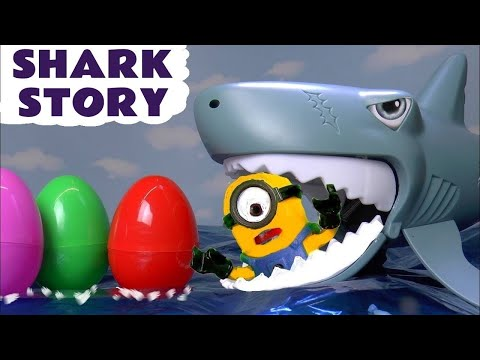 Minions Shark Attack Colors with Surprise Eggs Kinder and Thomas The Tank Engine TT4U