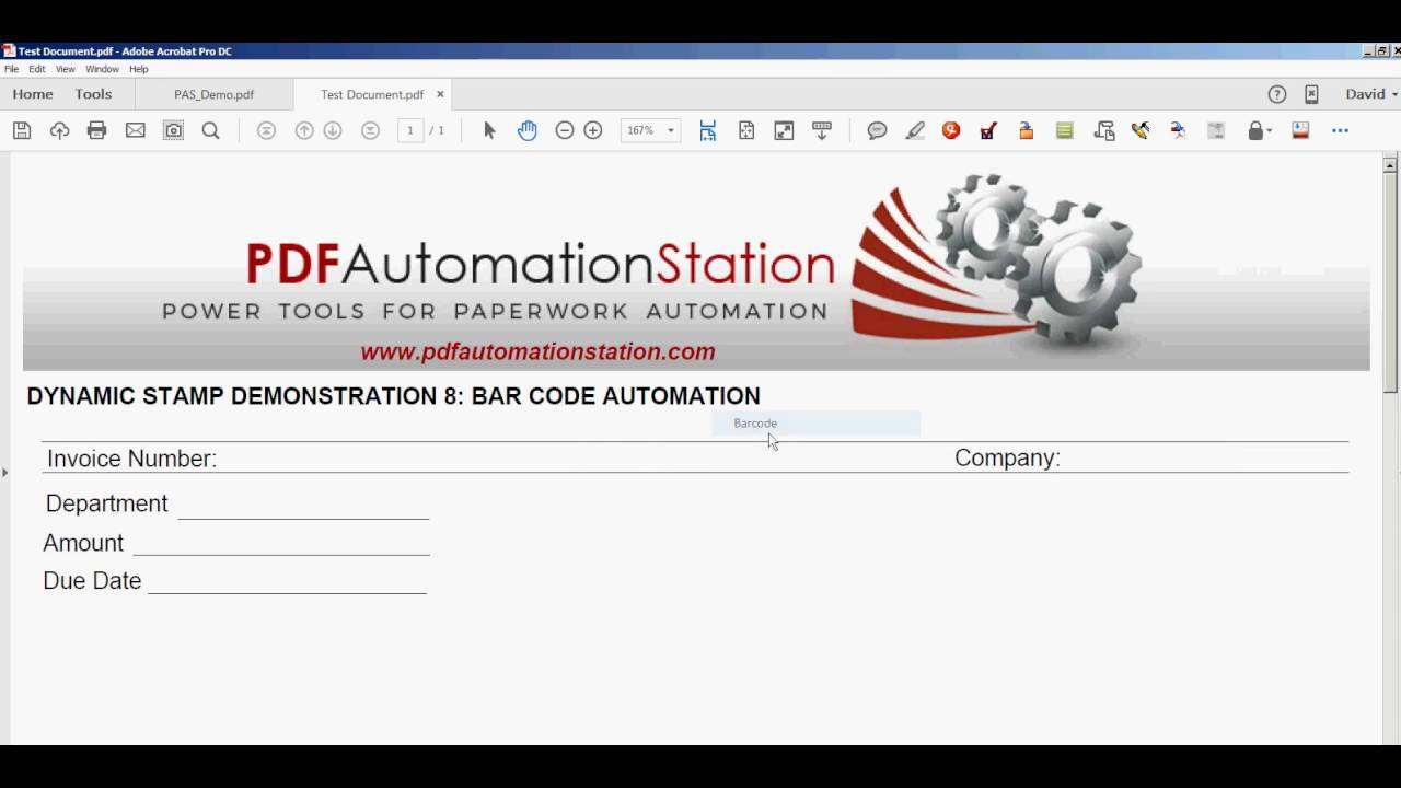 Dynamic Stamp With Bar Code - YouTube