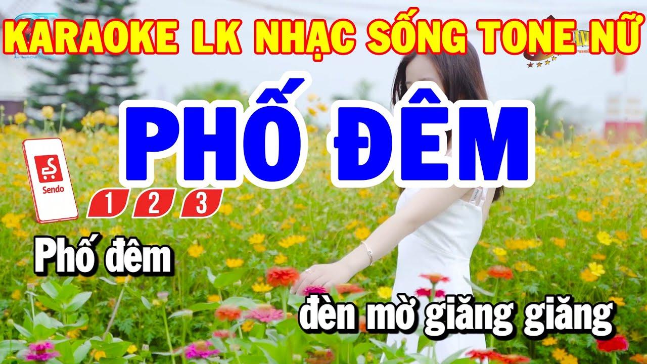 Karaoke Nhạc Sống Liên Khúc  RumbaTone Nữ | Phố Đêm - Mưa Rừng | Karaoke Thanh Hải