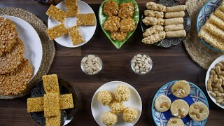 Top view shot of various Indian sweets consumed during the winter season in India - Happy Lohri