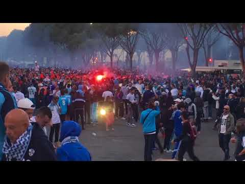 OM-PSG le cortège plus l'ambiance du stade vélodrome