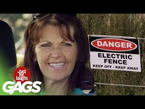 youtube filmek - Electric Fence Castrates Cop Prank