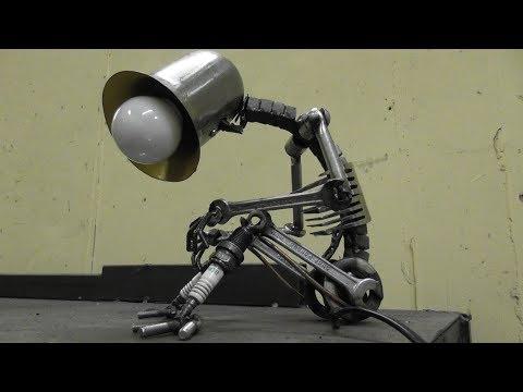 Scrap Metal Art Table Lamp