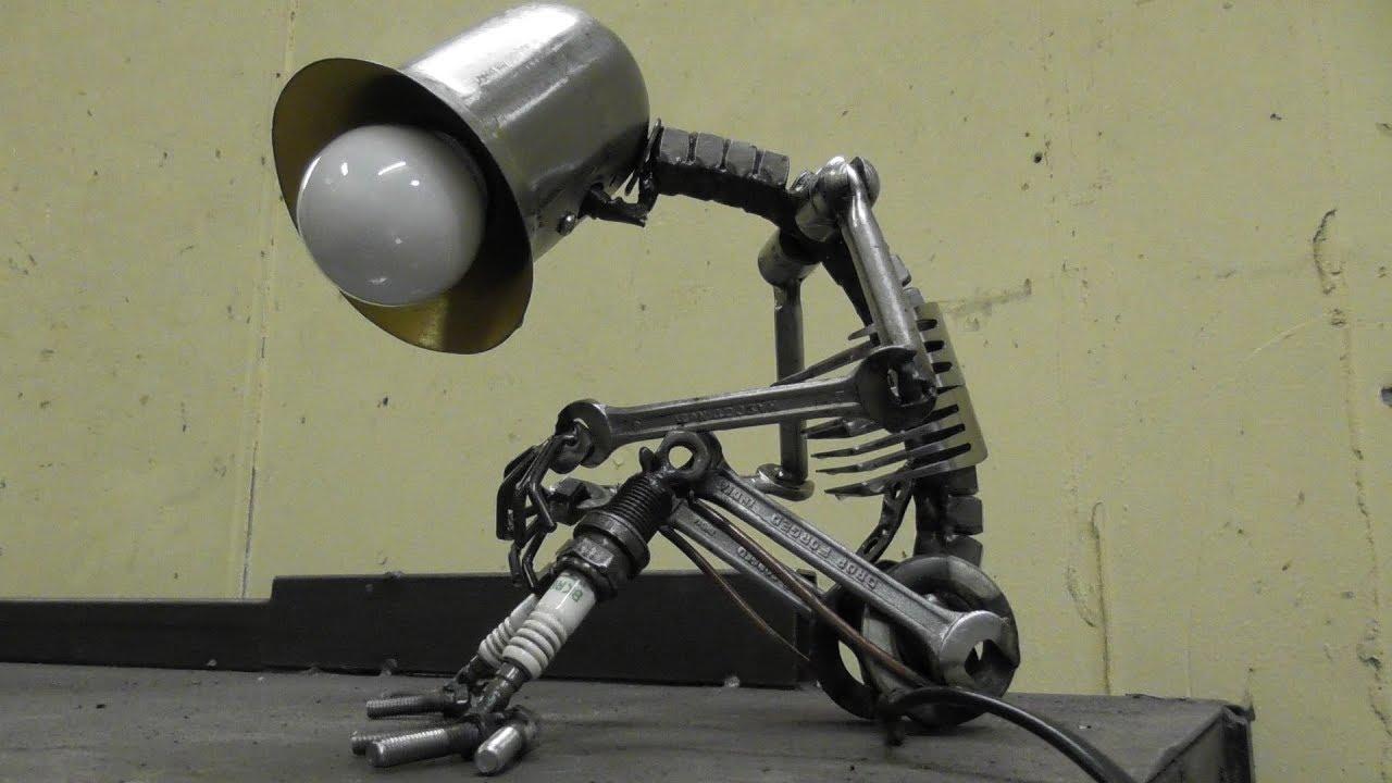 Scrap Metal Art Table Lamp Youtube