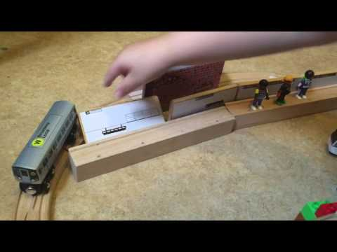 The trains are coming (wooden MTA toy trains)