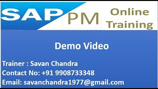 SAP PM training | SAP Plant Maintenance Training| for training contact at +91 9908733348