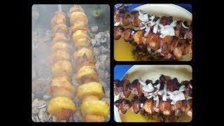 Картошка с салом на шампурах. (вкусно)