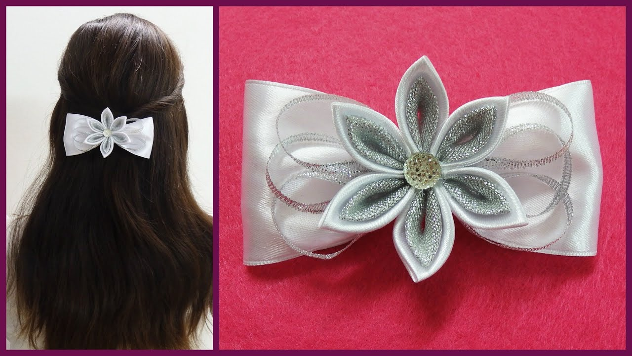 DIY kanzashi hair bow,how to make hair bow,kanzashi tutorial - YouTube