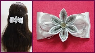 DIY kanzashi hair bow,how to make hair bow,kanzashi tutorial