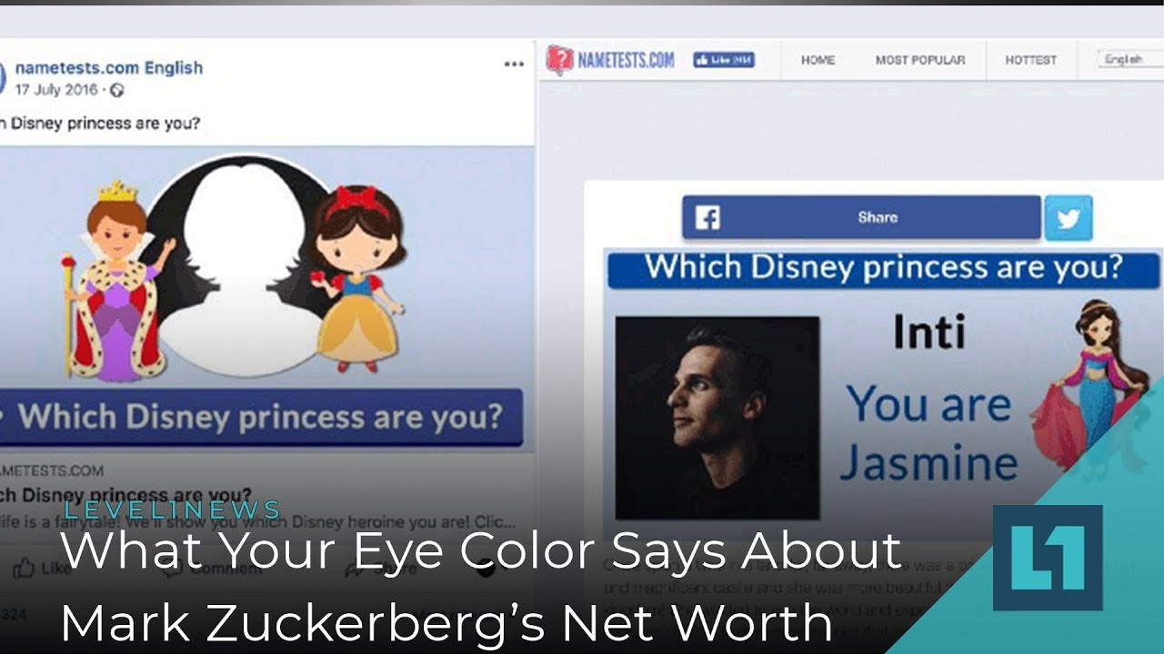 Level1 News March 22 2019: What Your Eye Color Says About Mark Zuckerberg's  Net Worth