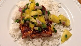 Spicy Salmon With Homemade Pineapple Mango Salsa