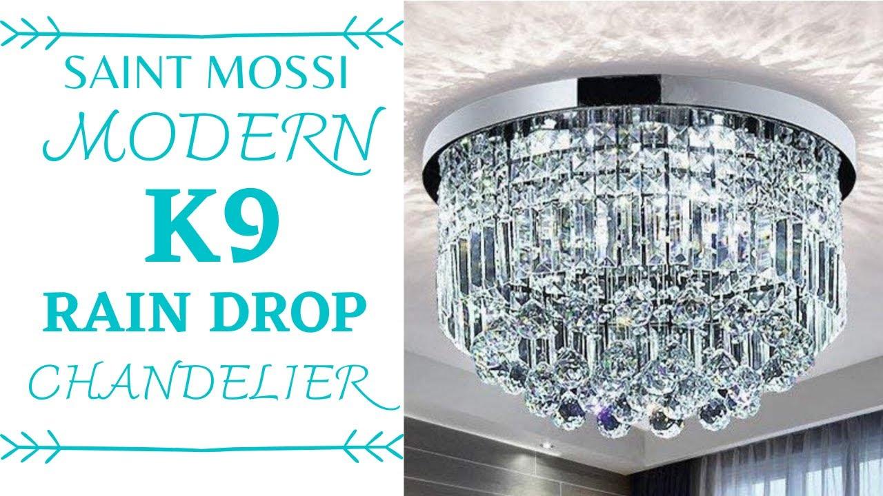 Flush Mount Chandelier, Saint Mossi Chandelier Modern K9 Crystal Raindrop Light