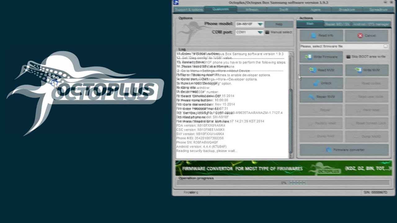 Octopus Box Samsung Software v 1 9 3 is out! Today we have added