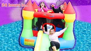 LAST TO LEAVE THE BOUNCE HOUSE IN THE POOL WINS $10,000 CHALLENGE!