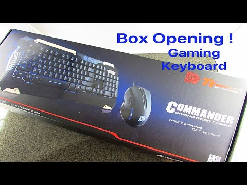 Box opening Ttesports Commander gaming gear combo keyboard and mouse