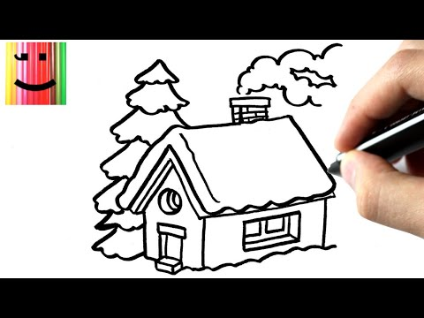 comment dessiner une maison en hiver tutoriel how to. Black Bedroom Furniture Sets. Home Design Ideas
