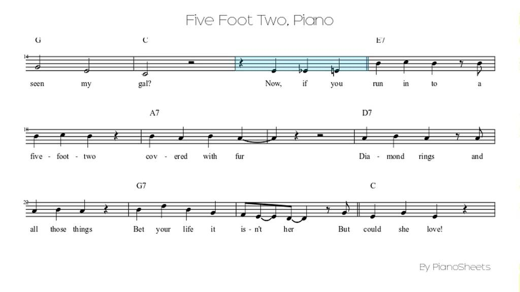 Five Foot Two Piano Solo Youtube