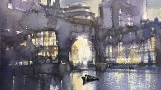 """Advancing with Watervolor: """"Light on Water, Rowes Wharf"""""""
