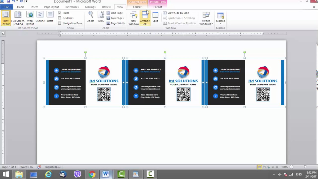 Business Card Template for Microsoft Word - YouTube