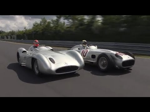 【F1】Michael Schumacher &  Nico Rosberg driving the Silver Arrow W196