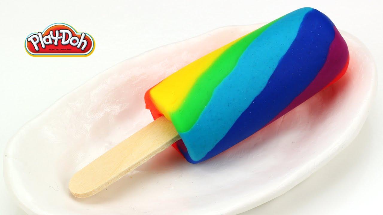 Play doh rainbow popsicle ice cream bar easy youtube for Food bar rainbow moon