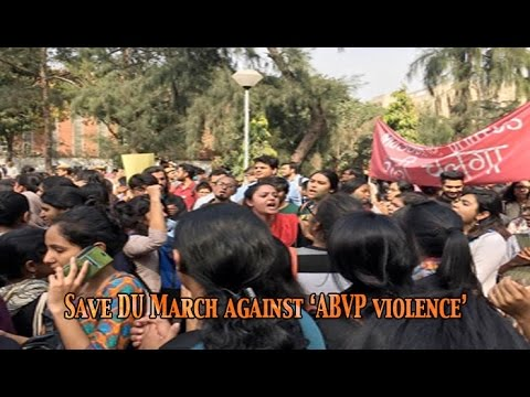 Music, slogans, Urdu posters in DU march against 'ABVP violence': NewspointTv