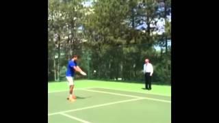 juan martin del potro tennis atp superstar first backhands on hidden cam 4 months after surgery