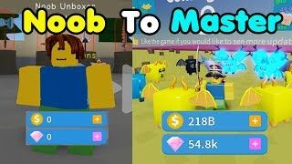 Noob To Master! 200 Billion Coin! Unlocked All Areas! Got Godly Hat! - Unboxing Simulator