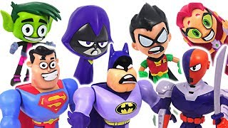 DC Teen Titans Go! Movie! Face Swappers and Batman, Superman Go! Defeat Slade, dinosaur! #DuDuPopTOY