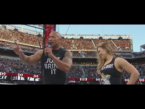 The Rock and Ronda Rousey Attack Stephanie McMahon and Triple H -WWE WRESTLEMANIA 31 #WM31