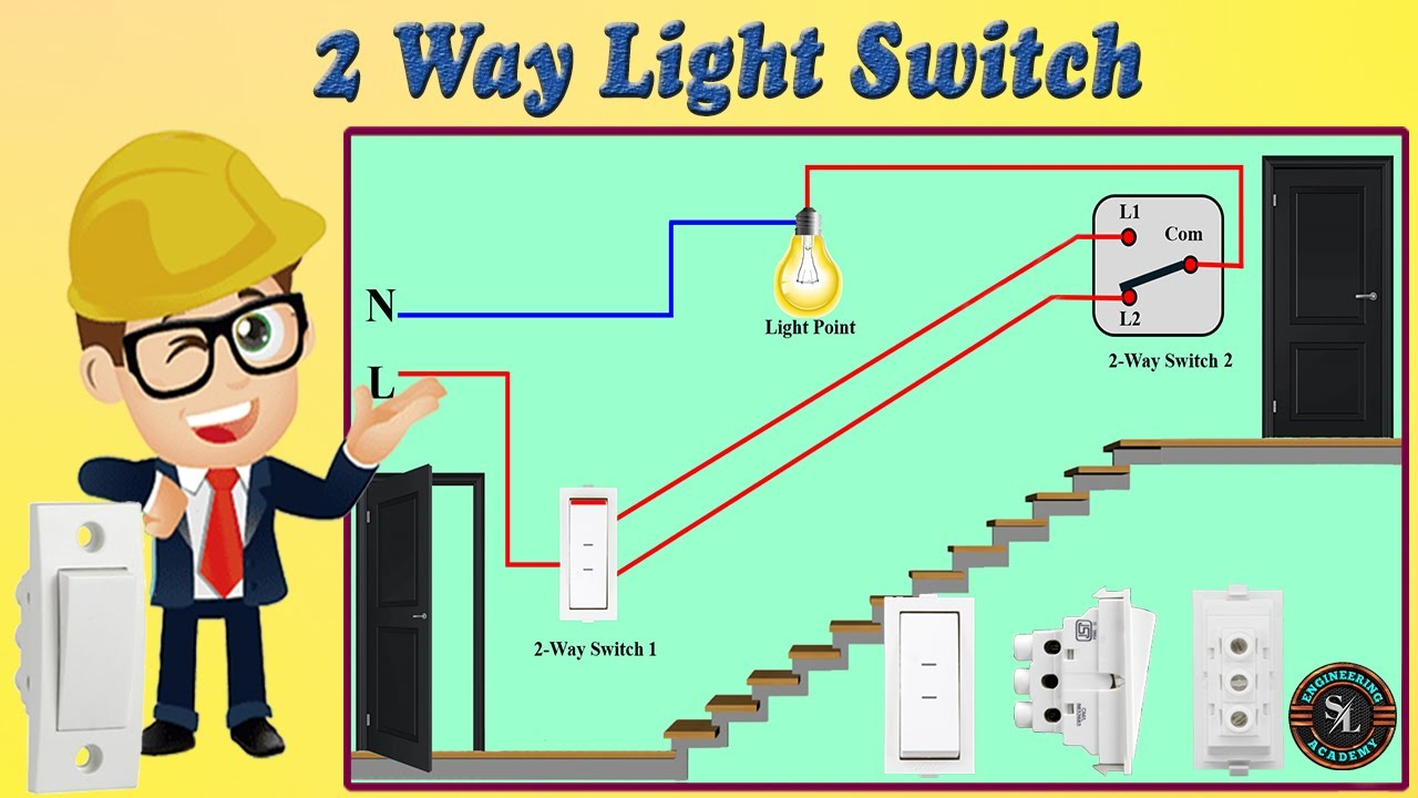 Two Way Switch Connection    How To Wire 2 Way Light Switch    Starecase Wiring With 2 Way Switch