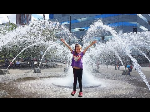 Playing in a HUGE Water Fountain Portland Oregon
