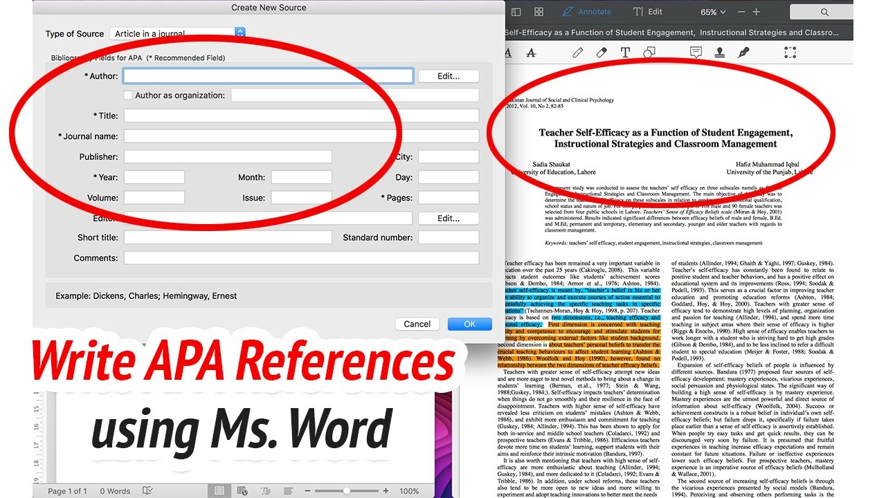 how to write apa citation and references using ms word youtube
