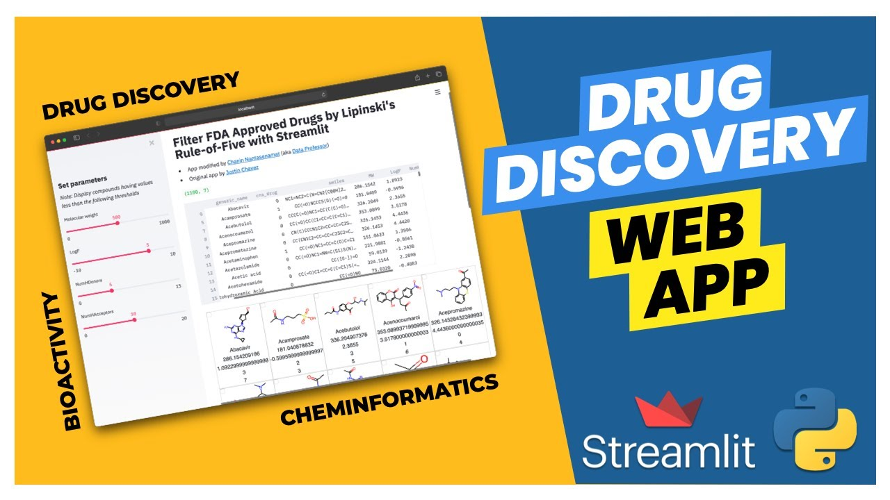 How to build a web app for Drug Discovery in Python   Streamlit #26