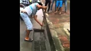 Easy sewer fish catch in Hanoi