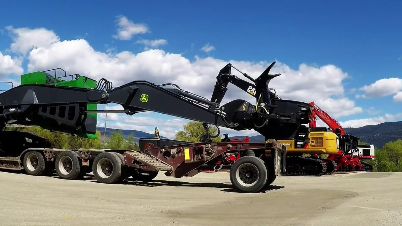 8 axle lowbed unit kenworth t800 lowbedding john deere 3156g log loader [ 1280 x 720 Pixel ]