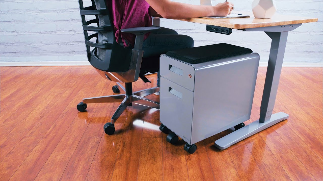 Narrow 2 Drawer File Cabinet With Seat, Rolling By UPLIFT Desk