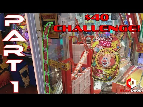 Part 1 of 2 - $40 Coin Pusher Challenge! - Ticket Circus at Six Flags Arcade - Bonus Jackpot Wins! - 동영상