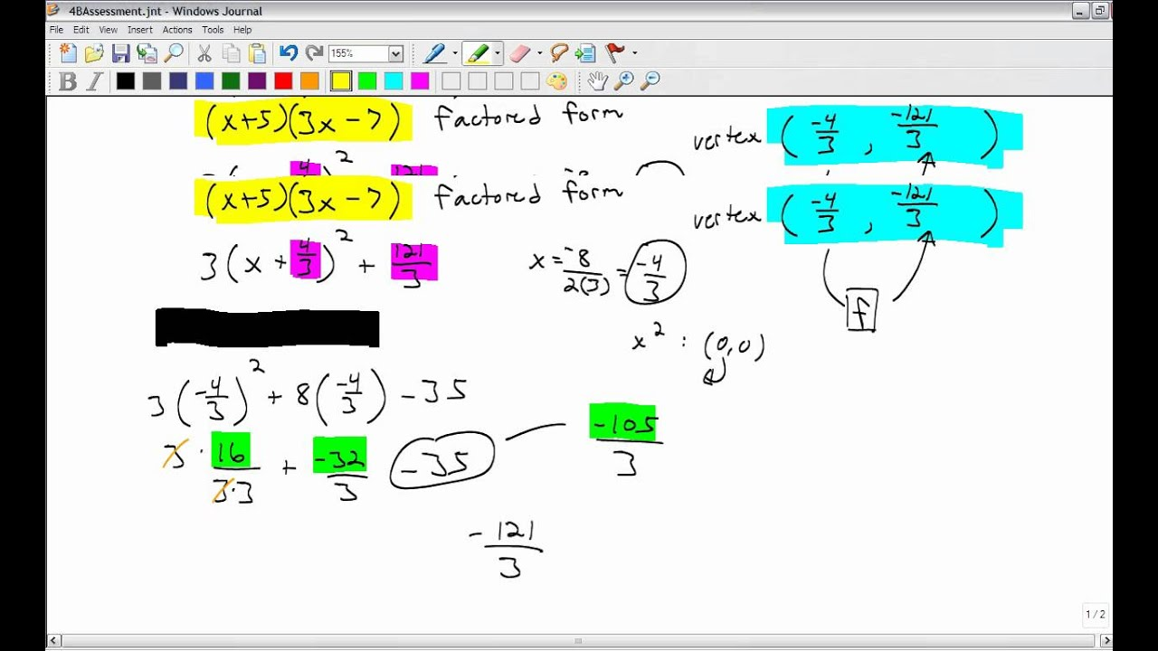 Vertex Standard And Factored Form Of A Quadratic Youtube