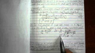 Detailed calculation of simple heat problems. Definitions of H, m, ...