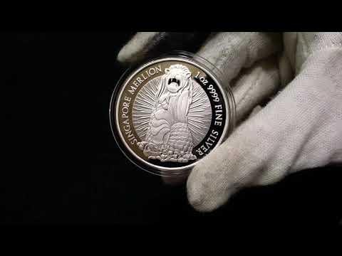 1 oz Merlion round silver